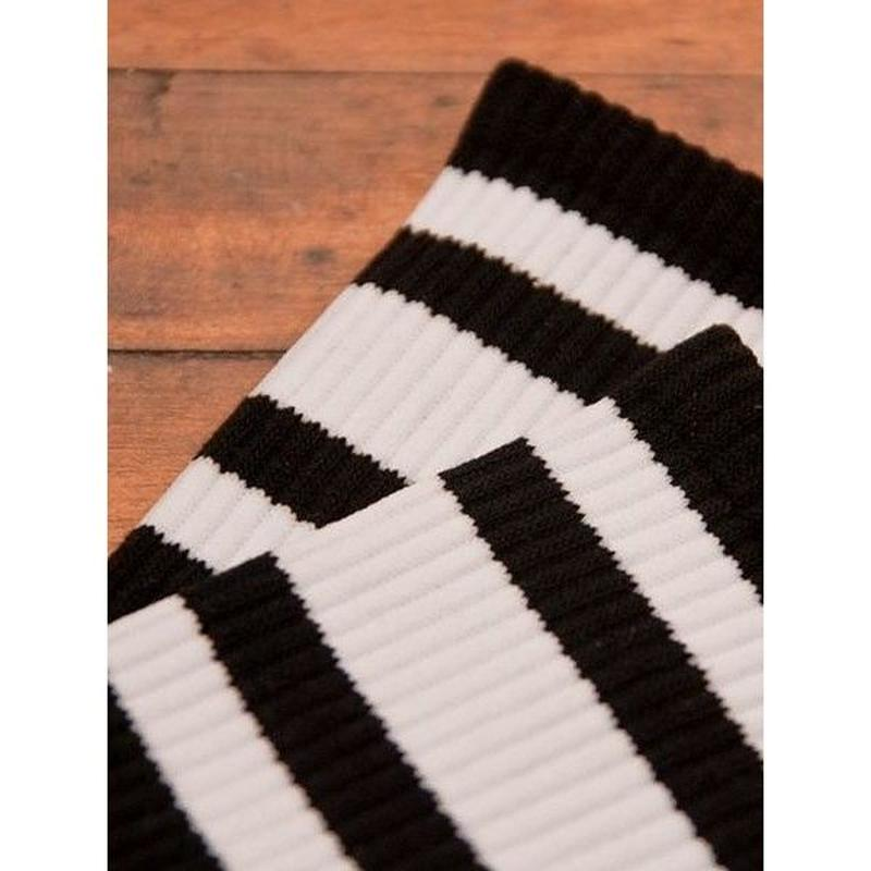 SOCCO STRIPE CrewSock BLACK   White Stripe