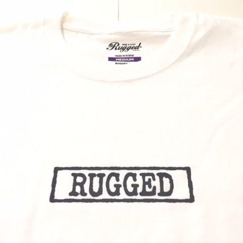 "RUGGED ""type box"" high grade cotton tee (White×Black)"