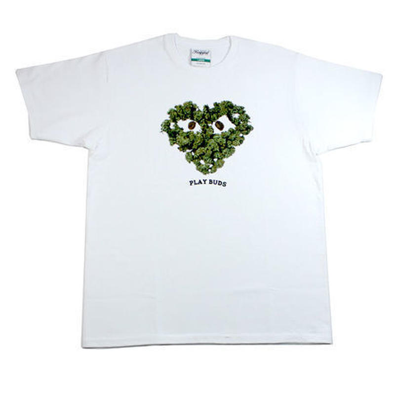 "RUGGED green label ""PLAY BUDS 2""tee(White)"