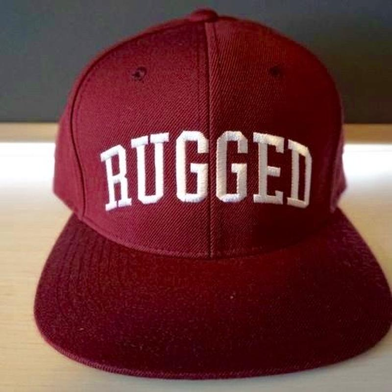 "RUGGED ""Arch logo"" Snap back (Burgundy×White)"