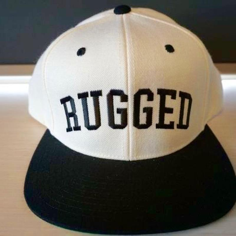 "RUGGED ""Arch logo"" Snap back (White×Black)"