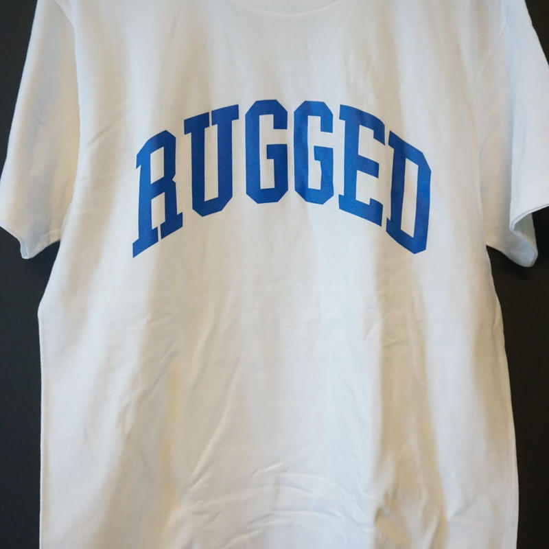 "RUGGED ""ARCH logo"" tee(White×Blue)"
