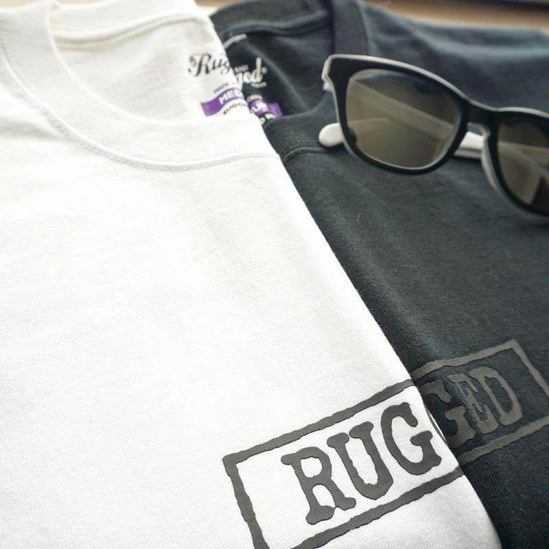 "RUGGED ""type box"" high grade cotton tee (Black×Black)"