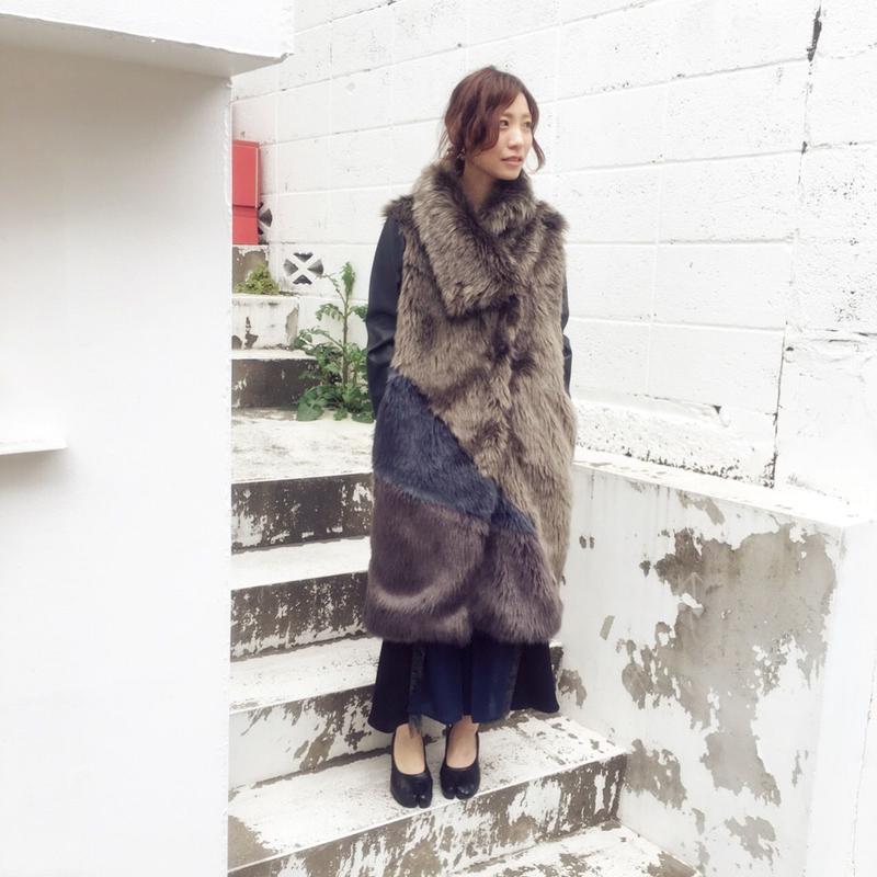 SHIROMA 16-17A/W DARK AGES fur coat -khaki-