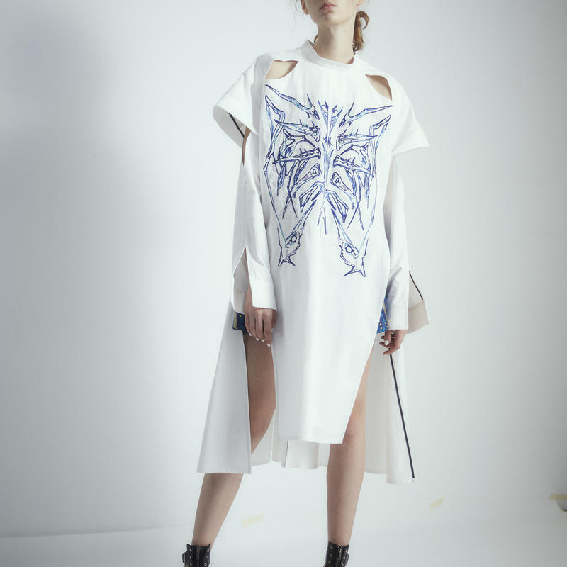 SHIROMA 18S/S ANARCHY overlay embroidery dress
