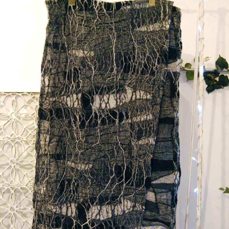 SHIROMA 15-16A/W ghost jacquard stole -black-