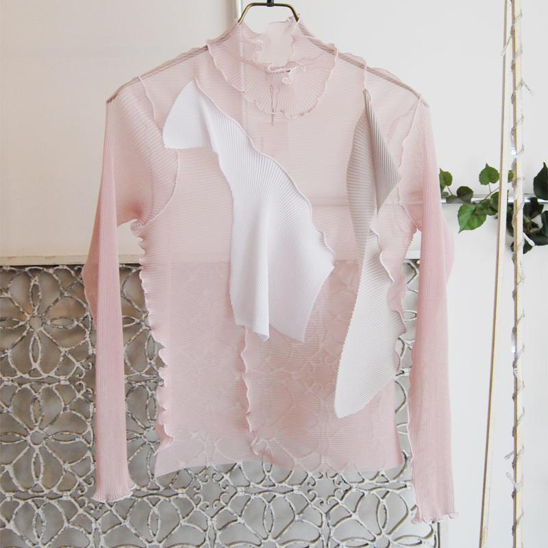 kotohayokozawa pleats see-through high neck top -long sleeves pink-