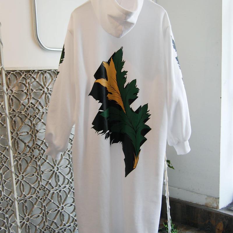 SHIROMA 19-20A/W leaf print hooded dress