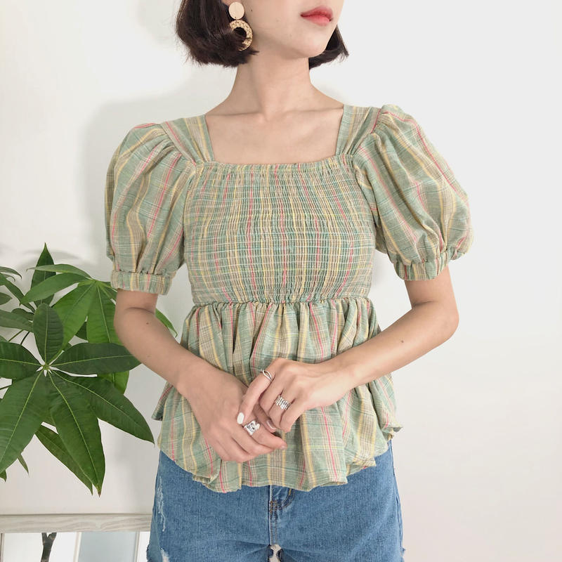 《予約販売》check puff blouse