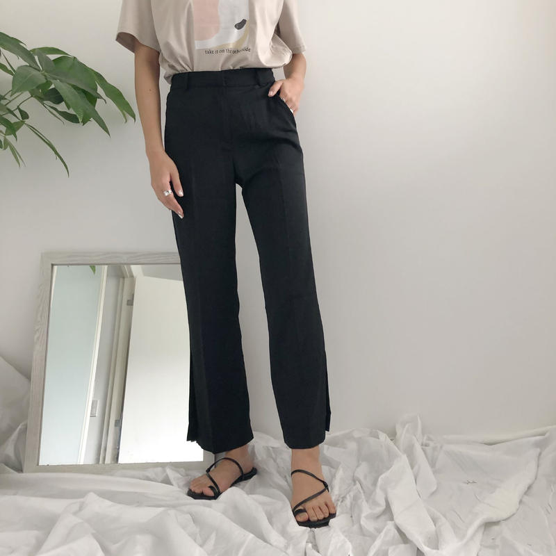 《予約販売》side slit slacks pants