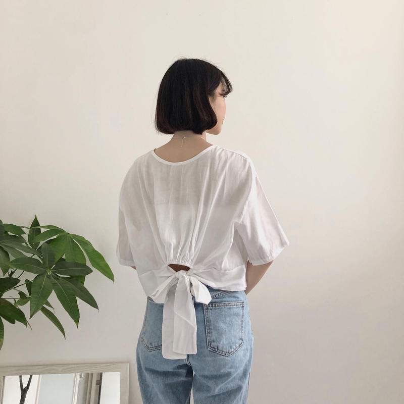 《予約販売》back ribbon linen blend blouse