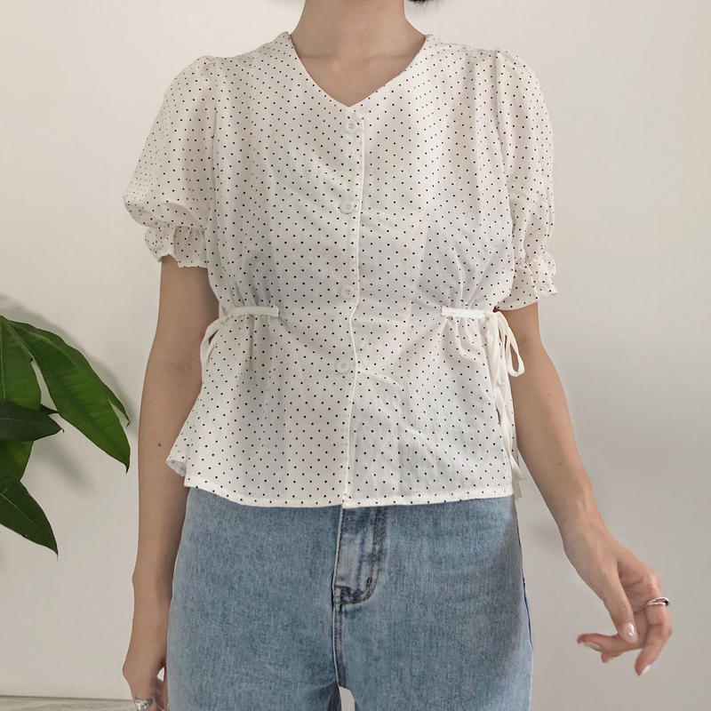 《予約販売》side ribbon dot blouse
