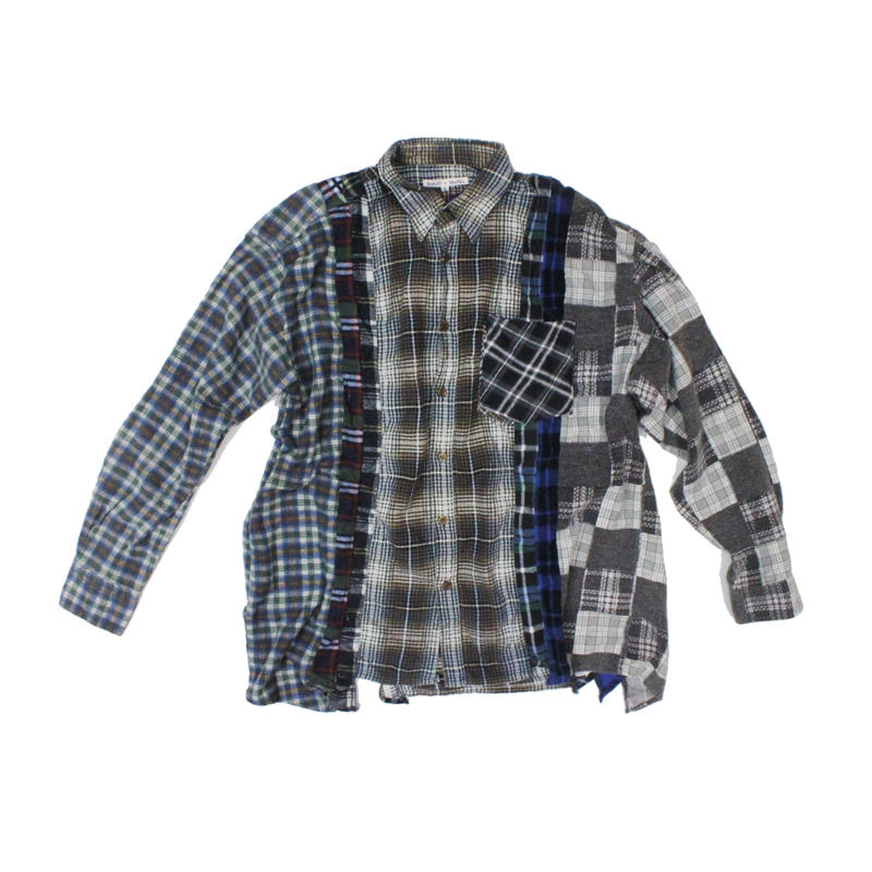 Rebuild by Needles 7 CUT Flannel Shirt BRO CHK- L size