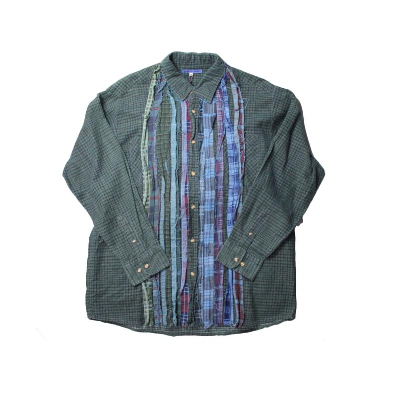 Rebuild By Needles Ribbon Flannel Shirt INDIGO ×GREEN - size M -