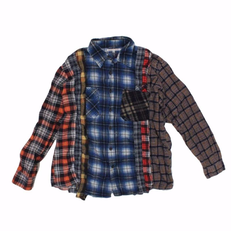 Rebuild by Needles 7 CUT Flannel Shirt BLUE CHK- M size