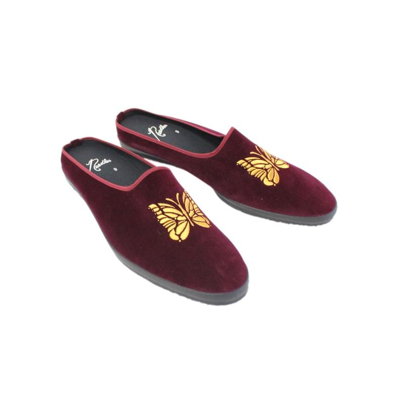 NEEDLES -  Papillon Enb Velvet Mule -bordeaux-