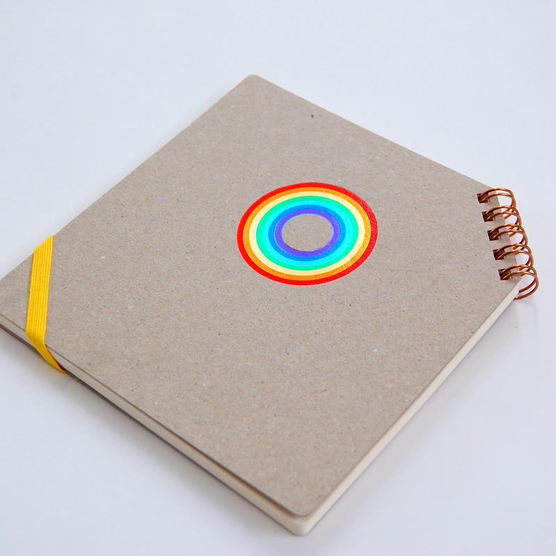 箔押し7色押し 『 虹 』 正方形ななめリングノート
