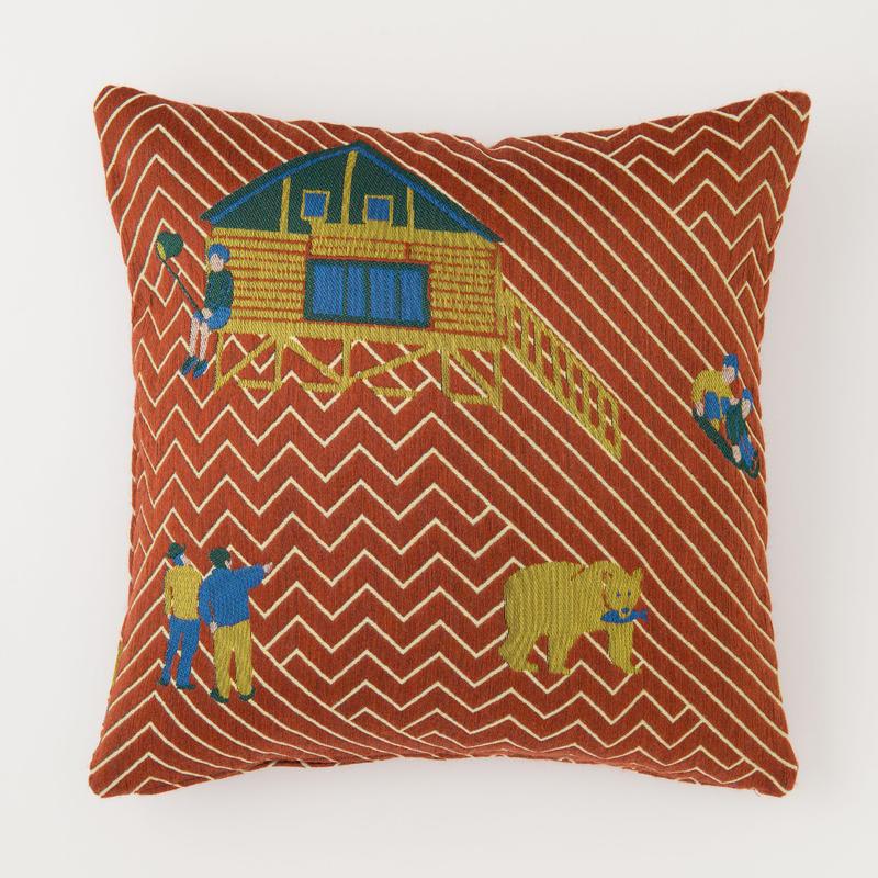 snip snap SATOYAMA cushion cover   bear red