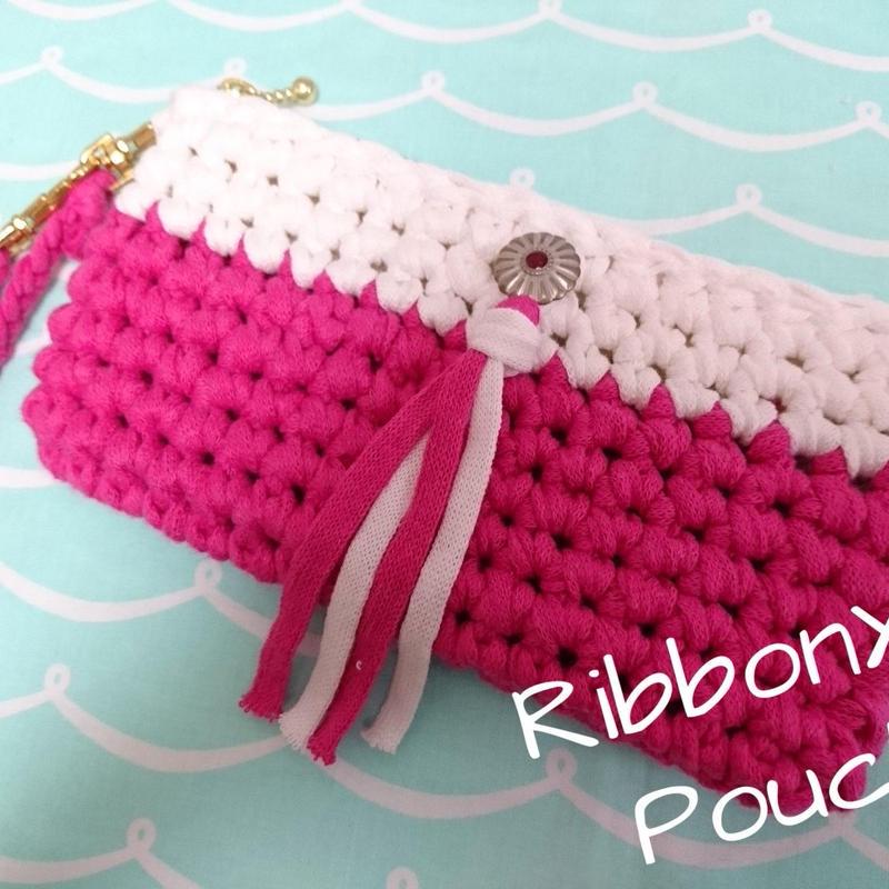 RibbonXLクラッチポーチ (ピンク)