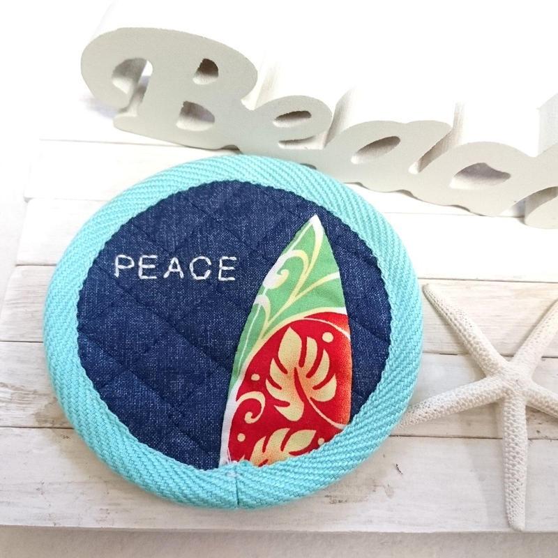 刺繍&サーフボードコースター (PEACE ミント)
