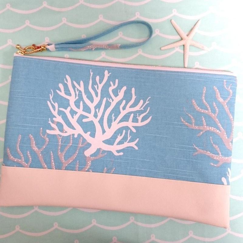 珊瑚クラッチバッグ (ブルー)