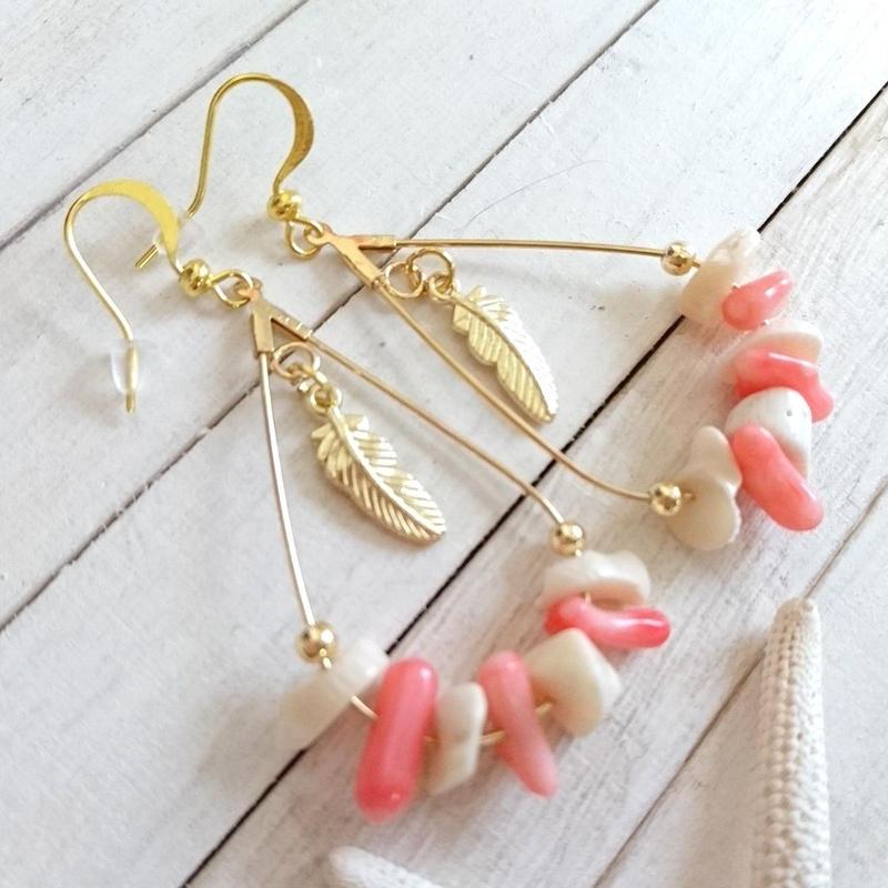 しずくフープピアス (ピンク 珊瑚)