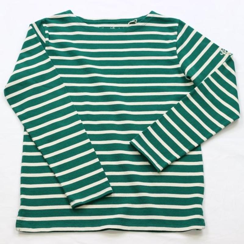 テンジクヤ ボーダーTシャツ グリーン X ナチュラル(生成り)
