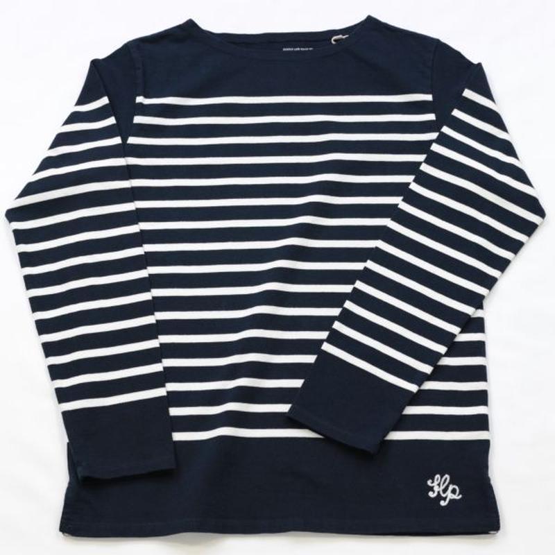 テンジクヤ パネルボーダーTシャツ ネイビー X オフホワイト