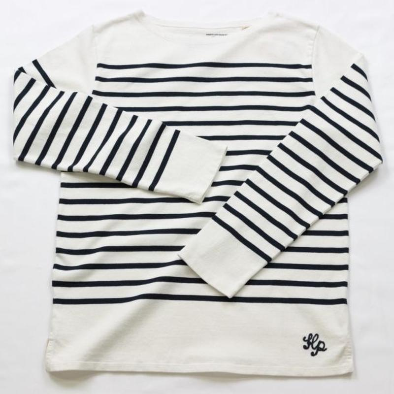 テンジクヤ パネルボーダー Tシャツ オフホワイト X ネイビー