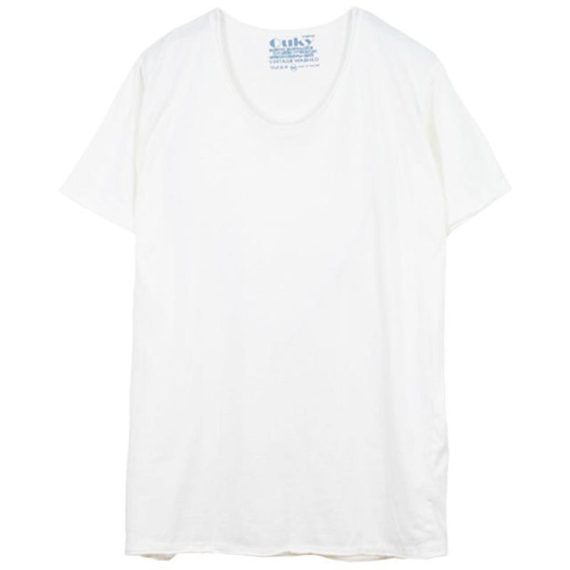 ヴィンテージウォッシュ Tシャツ  -White.
