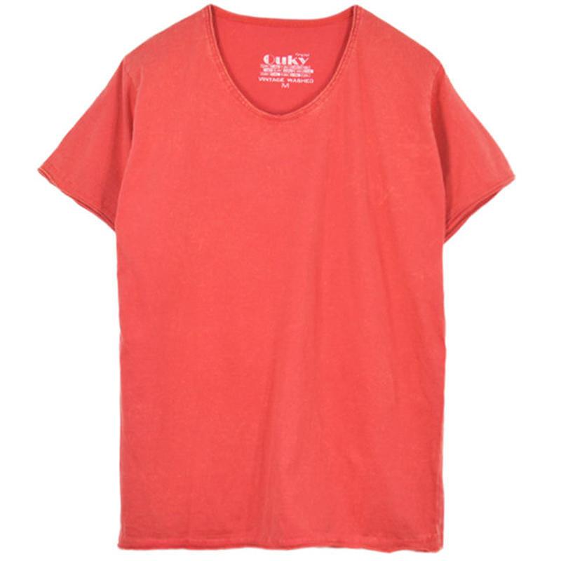 ヴィンテージウォッシュ Tシャツ - Red.