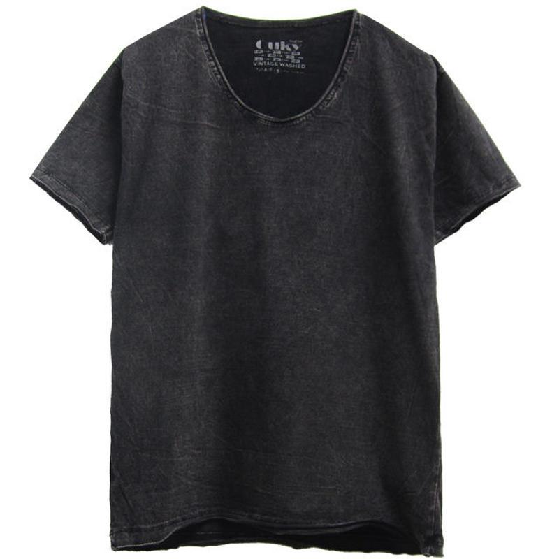 ヴィンテージウォッシュ Tシャツ  -Black.
