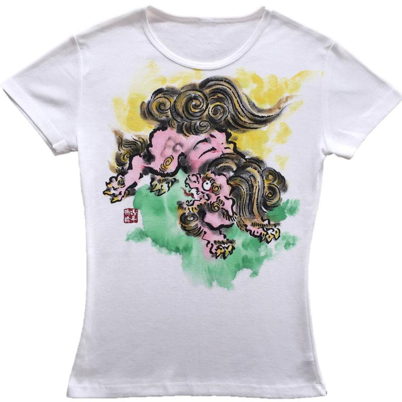 T-shirts ladies Jumping Lion color Japanese Art