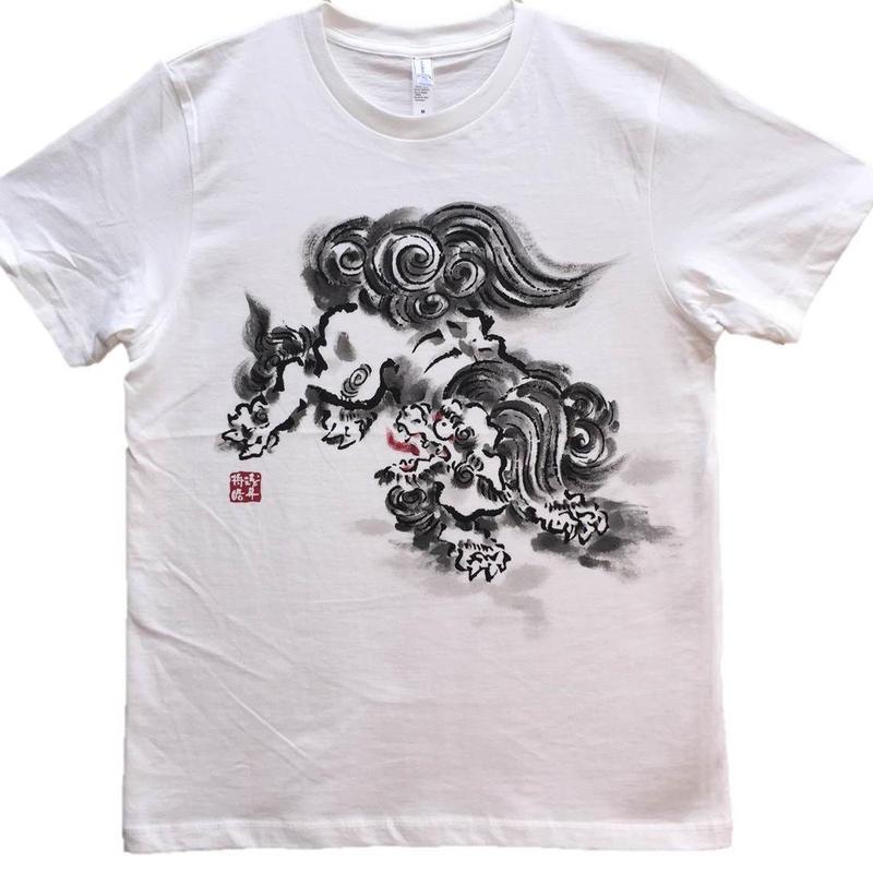 T-shirts men Jumping Lion white Japanese sumi-e Art