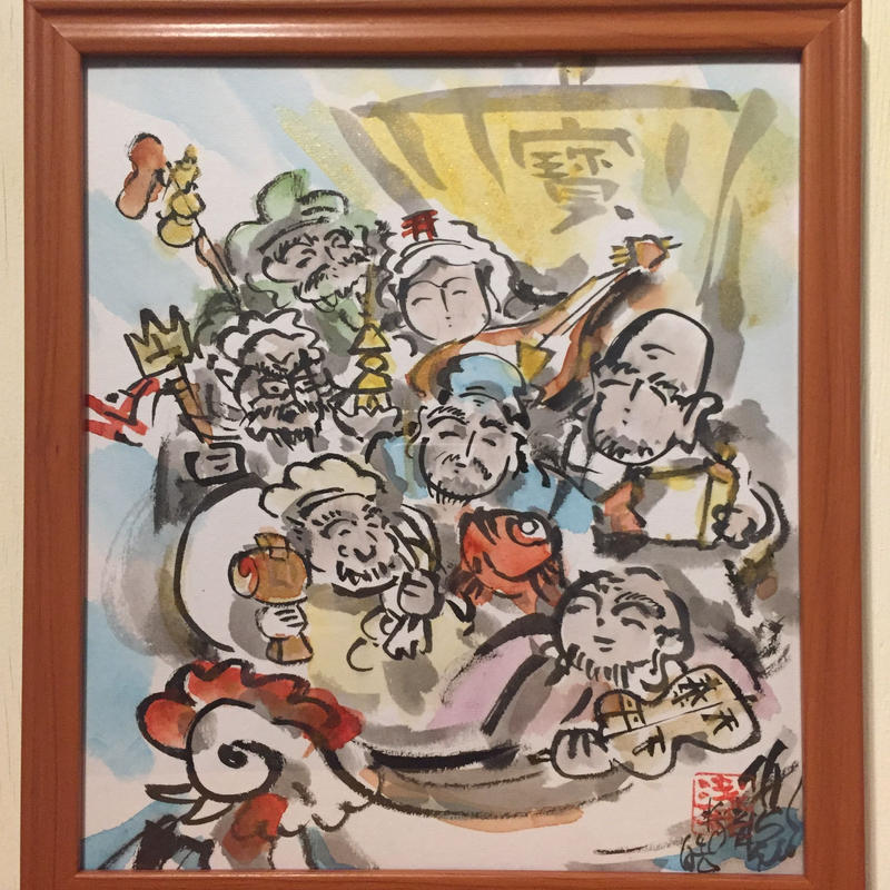 Hichifukujin sumie art shikishi card in frame