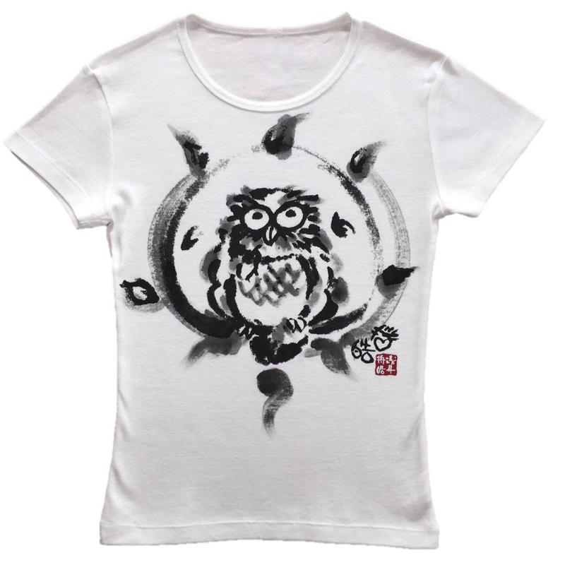 T-shirts ladies Happy Owl white Japanese Art