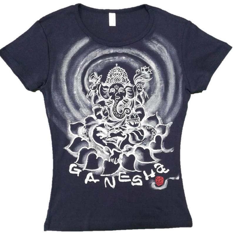 T-shirts ladies Ganesha Navy Japanese Art