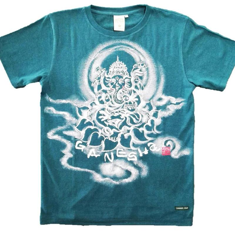 Hemp T-shirts Ganesha FRONT Japanese sumi-e art Green