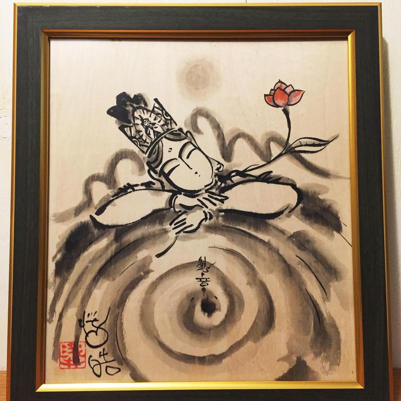 """Original sumi-e picture """"Hearts of Kannon"""""""