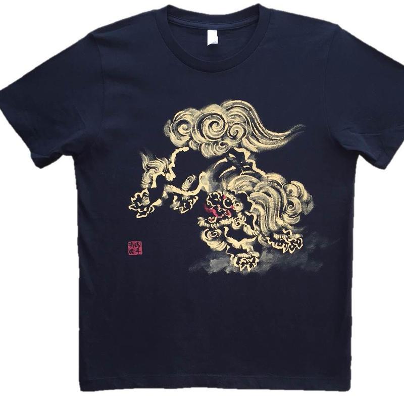 T-shirts men Jumping Lion  black Japanese sumi-e Art