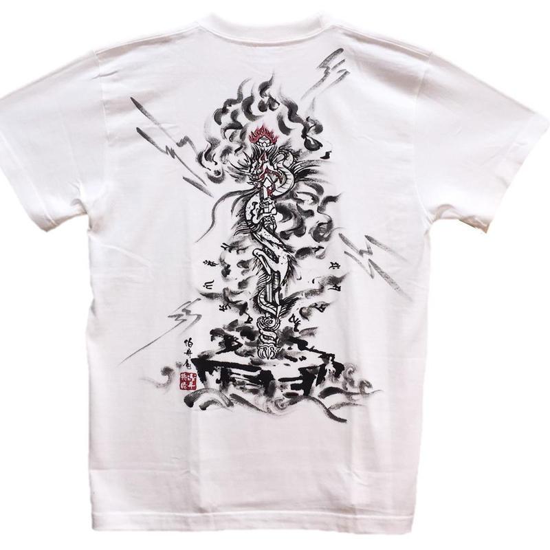 T-shirts men Kurikara Fudo white Buddhist Japanese sumi-e Art