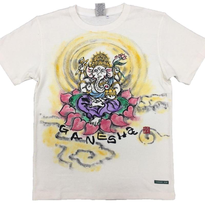 Hemp T-shirts Ganesha FRONT color Japanese sumi-e art Handmade