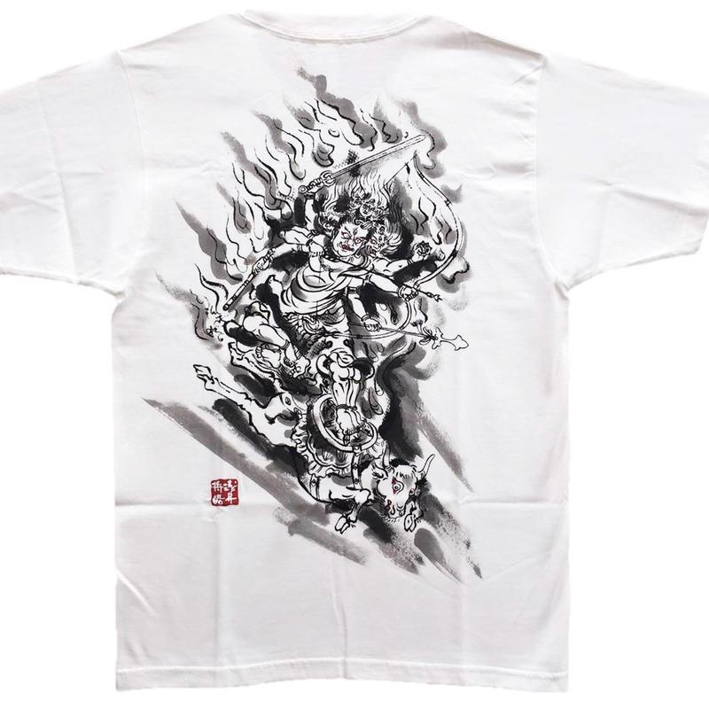 T-shirts men Daiitoku Myo-O white Buddhist Japanese sumi-e Art