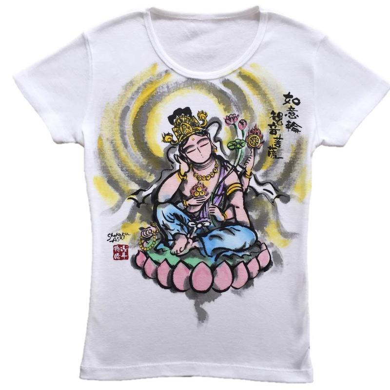 T-shirts ladies Nyoirin Kannon color Japanese Art