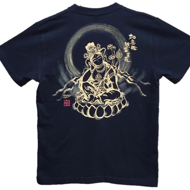 T-shirts men Nyoirin Kannon black Buddhist Japanese sumi-e Art