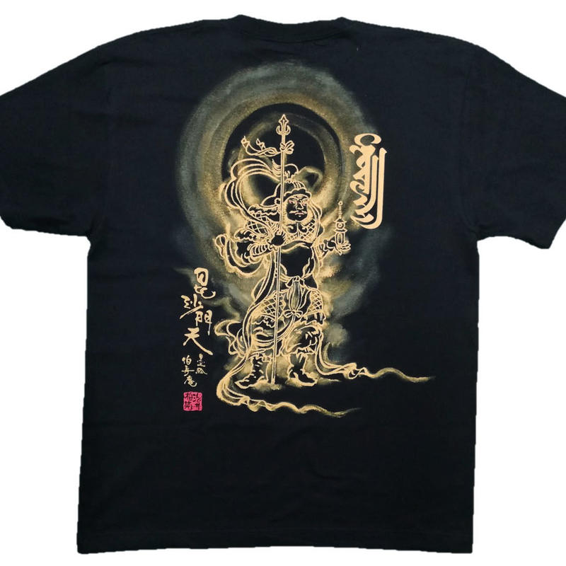 T-shirts men Bishamonten white Buddhist Japanese sumi-e Art