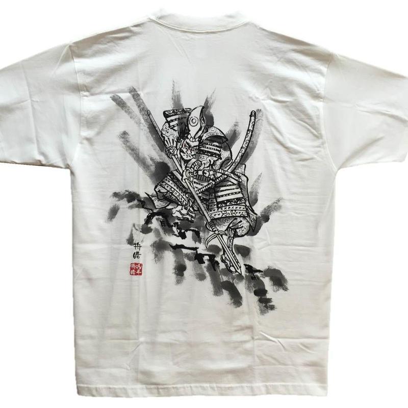 T-shirts men Kiyomasa Kato white Japanese sumi-e Art