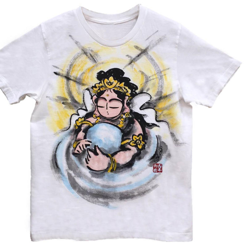 T-shirts men Hearts of Kannnon color Japanese sumi-e Art