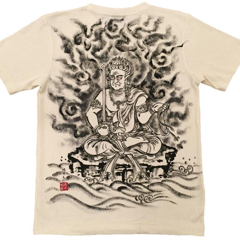 Hemp T-shirts men Fudo Myo-O Buddhist Zen Japanese sumi-e art