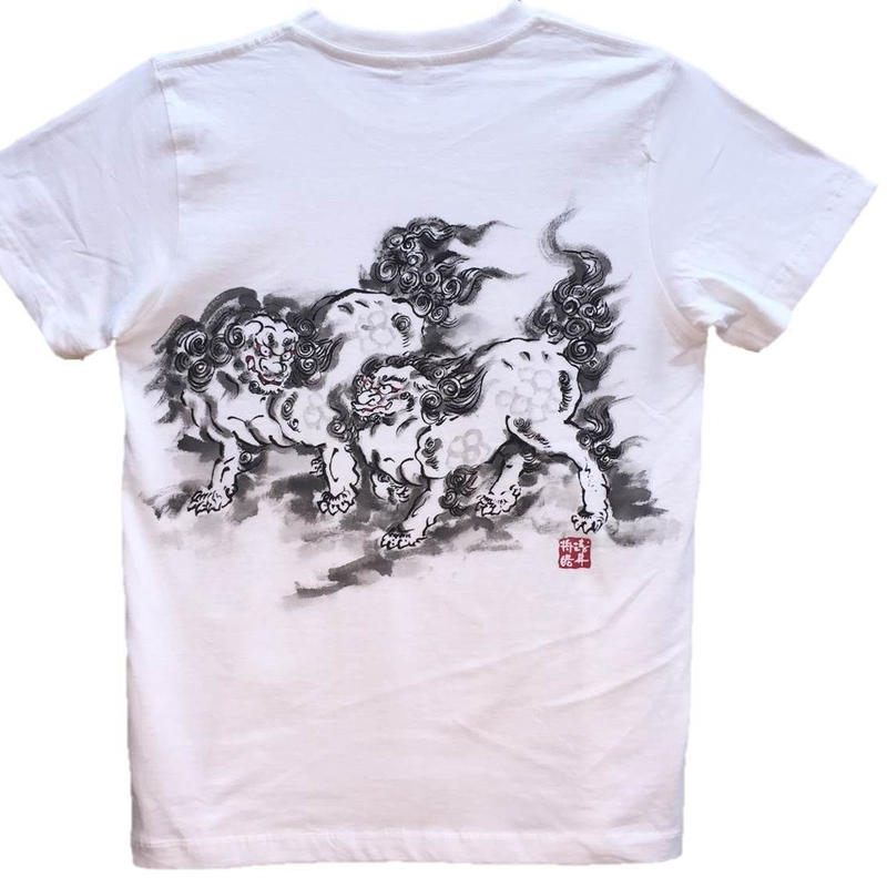 T-shirts men Two Standing Lions white Japanese sumi-e Art